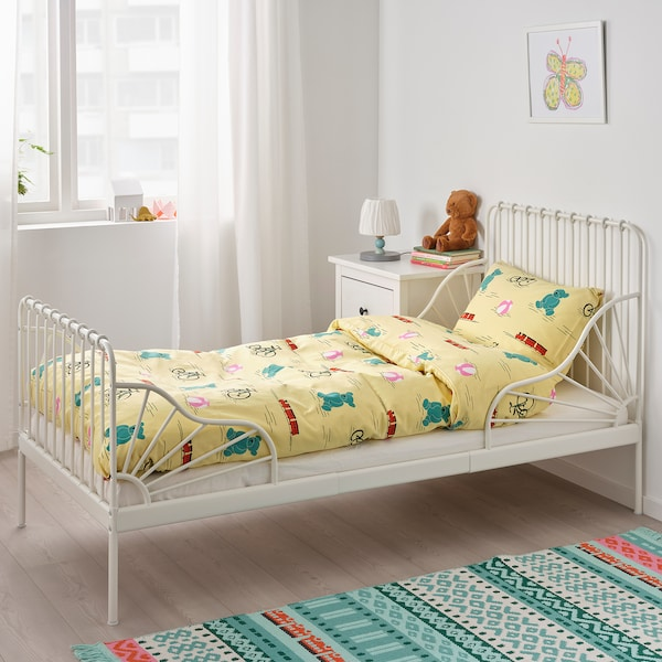 MINNEN Ext bed frame with slatted bed base, white, 91x190 cm