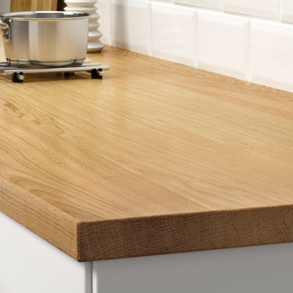 MÖLLEKULLA Worktop, oak/veneer, 246x3.8 cm