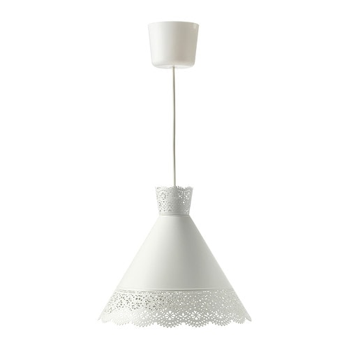MÖLNDAL Pendant lamp IKEA Creates a decorative light pattern in the room when the light shines through the perforated shade.