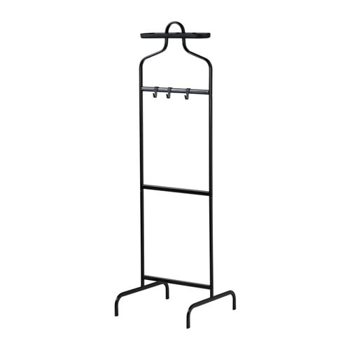 MULIG Valet stand IKEA 3 hooks for belts, ties, scarves or handbags and a removable tray on top for your watch, jewellery and other small things.