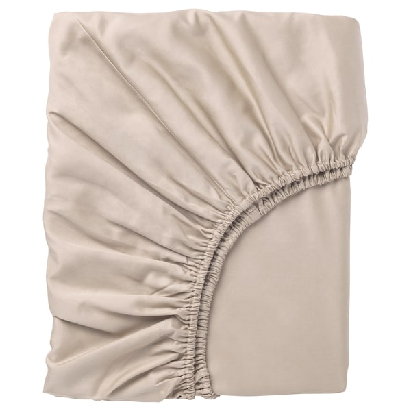 NATTJASMIN Fitted sheet, light beige, Queen