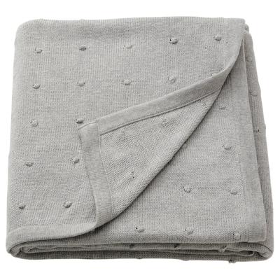 NATTSLÄNDA Blanket, knitted/grey mélange, 130x170 cm