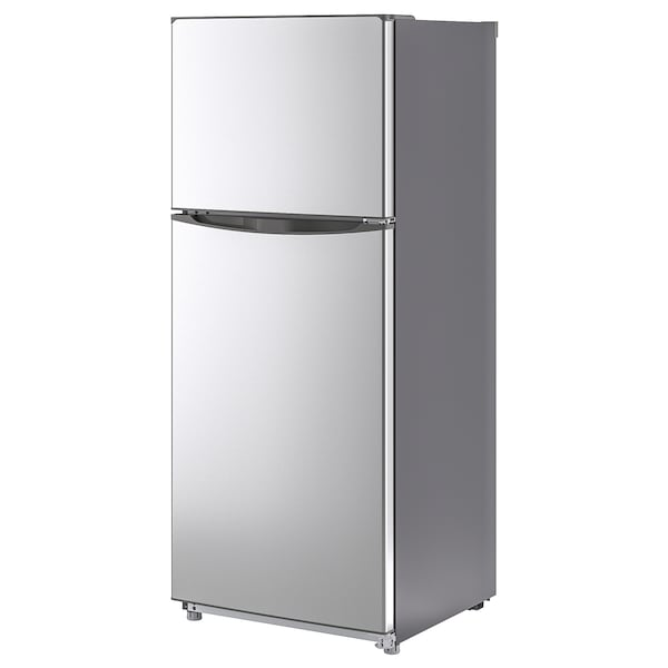 NEDKYLD Top mounted fridge/freezer, stainless steel colour, 281/90 l