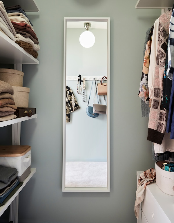 NISSEDAL Mirror, white, 40x150 cm