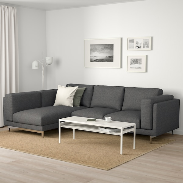 NOCKEBY 3-seat sofa with chaise longue, left/Lejde dark grey/chrome-plated 277 cm 82 cm 97 cm 175 cm 15 cm 60 cm 138 cm 44 cm