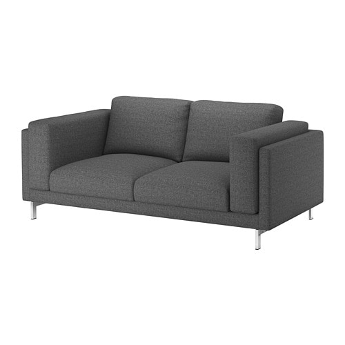 Nockeby Two Seat Sofa Lejde Dark Grey Chrome Plated