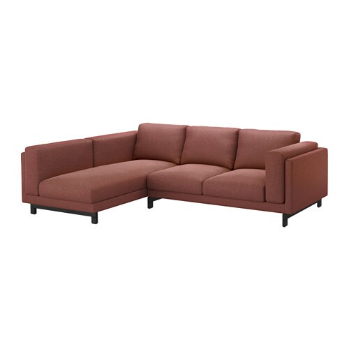 Nockeby two seat sofa w chaise longue left left tallmyra for Chaise longue sofa bed reviews