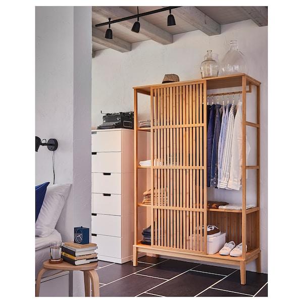 NORDKISA Open wardrobe with sliding door, bamboo, 120x186 cm
