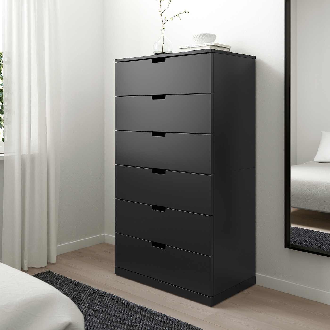 NORDLI Chest of 6 drawers, anthracite, 80x145 cm