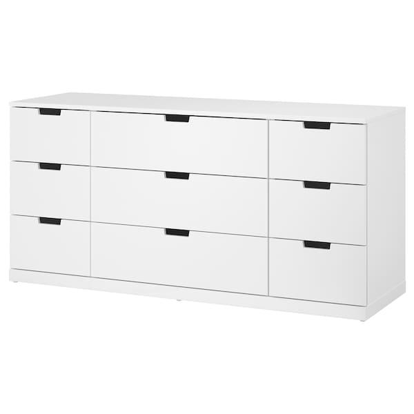 NORDLI Chest of 9 drawers, white, 160x76 cm