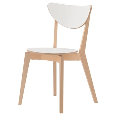 NORDMYRA Chair, white/birch