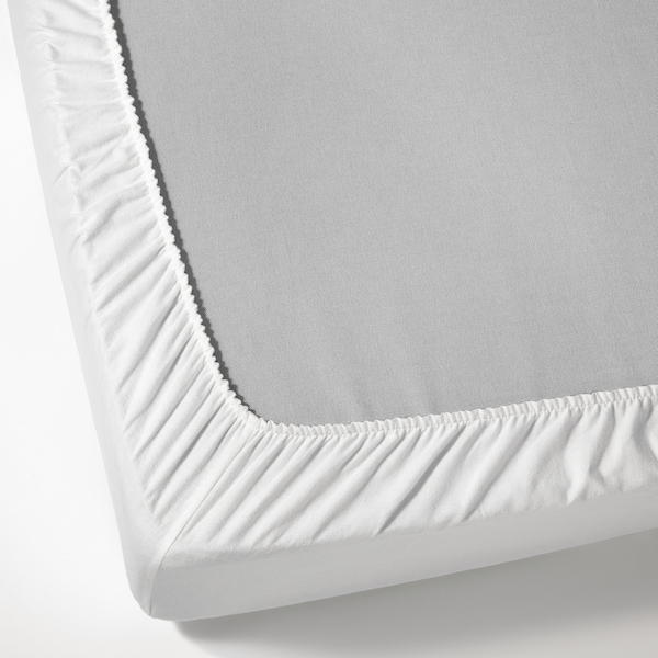 NORDRUTA Fitted sheet, white, Queen