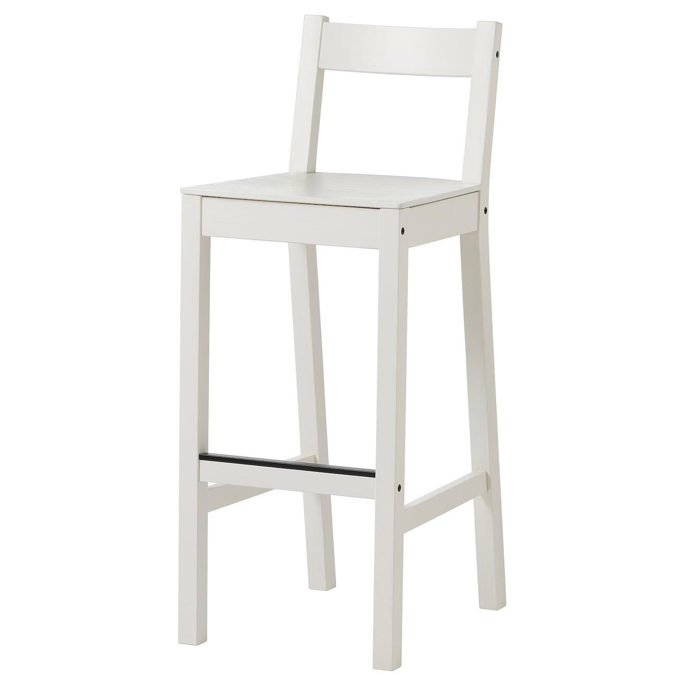 NORDVIKEN Bar stool with backrest   white 9 cm