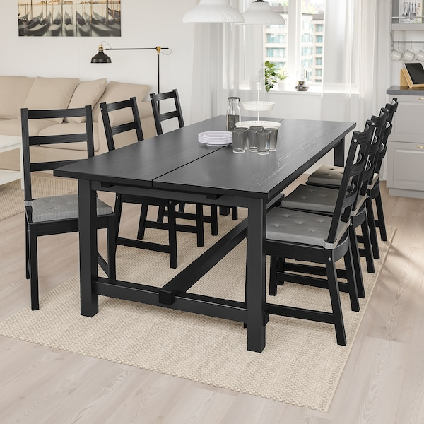 NORDVIKEN Extendable table, black, 210/289x105 cm