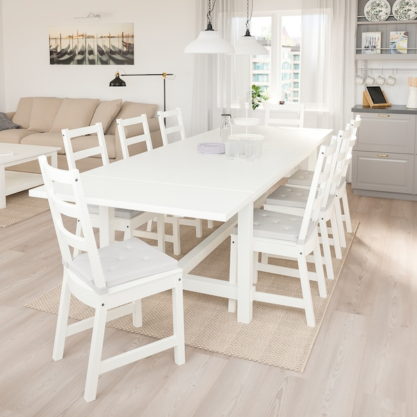 NORDVIKEN Table and 6 chairs, white/white, 210/289x105 cm