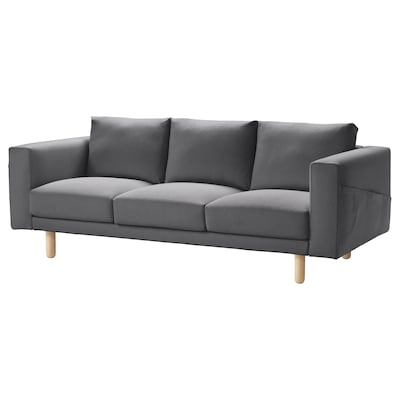NORSBORG 3-seat sofa, Finnsta dark grey/birch