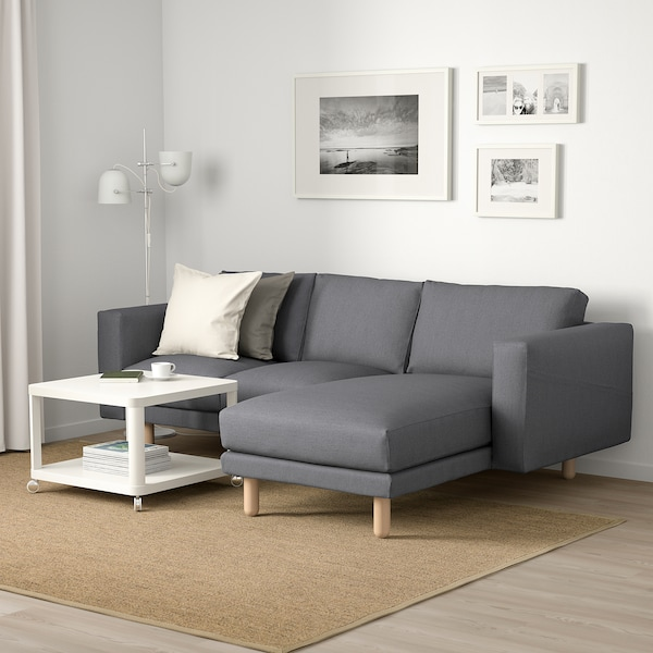 NORSBORG 3-seat sofa, with chaise longue/Finnsta dark grey/birch