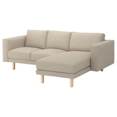 NORSBORG 3-seat sofa with chaise longue/Edum beige/birch 231 cm 85 cm 88 cm 157 cm 129 cm 18 cm 60 cm 43 cm