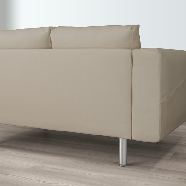 NORSBORG 4-seat sofa with chaise longues/Edum beige/metal 309 cm 85 cm 88 cm 157 cm 129 cm 18 cm 60 cm 43 cm