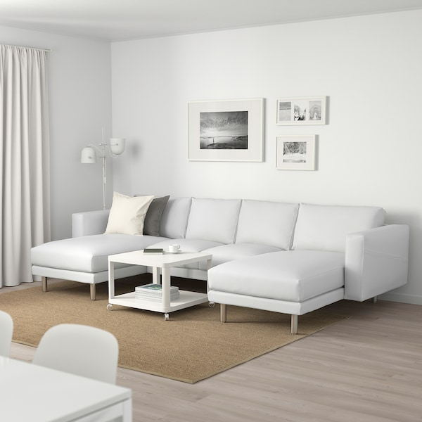 NORSBORG 4-seat sofa with chaise longues/Finnsta white/metal 309 cm 85 cm 88 cm 157 cm 129 cm 18 cm 60 cm 43 cm