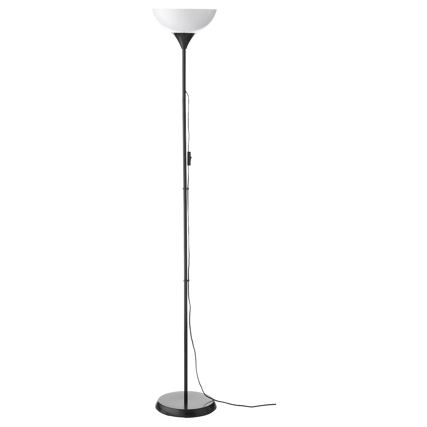 IKEA KVART Tall Floor Standing Lamp Black and Silver Colour Reading Light