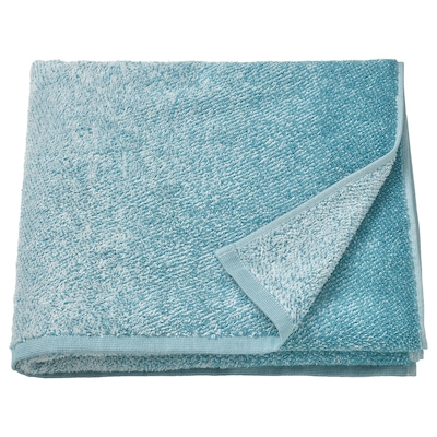 NYCKELN Bath towel, white/turquoise, 70x140 cm