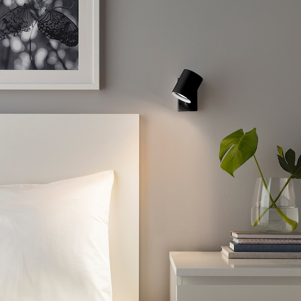 NYMÅNE Wall/reading lamp, wired-in inst, anthracite