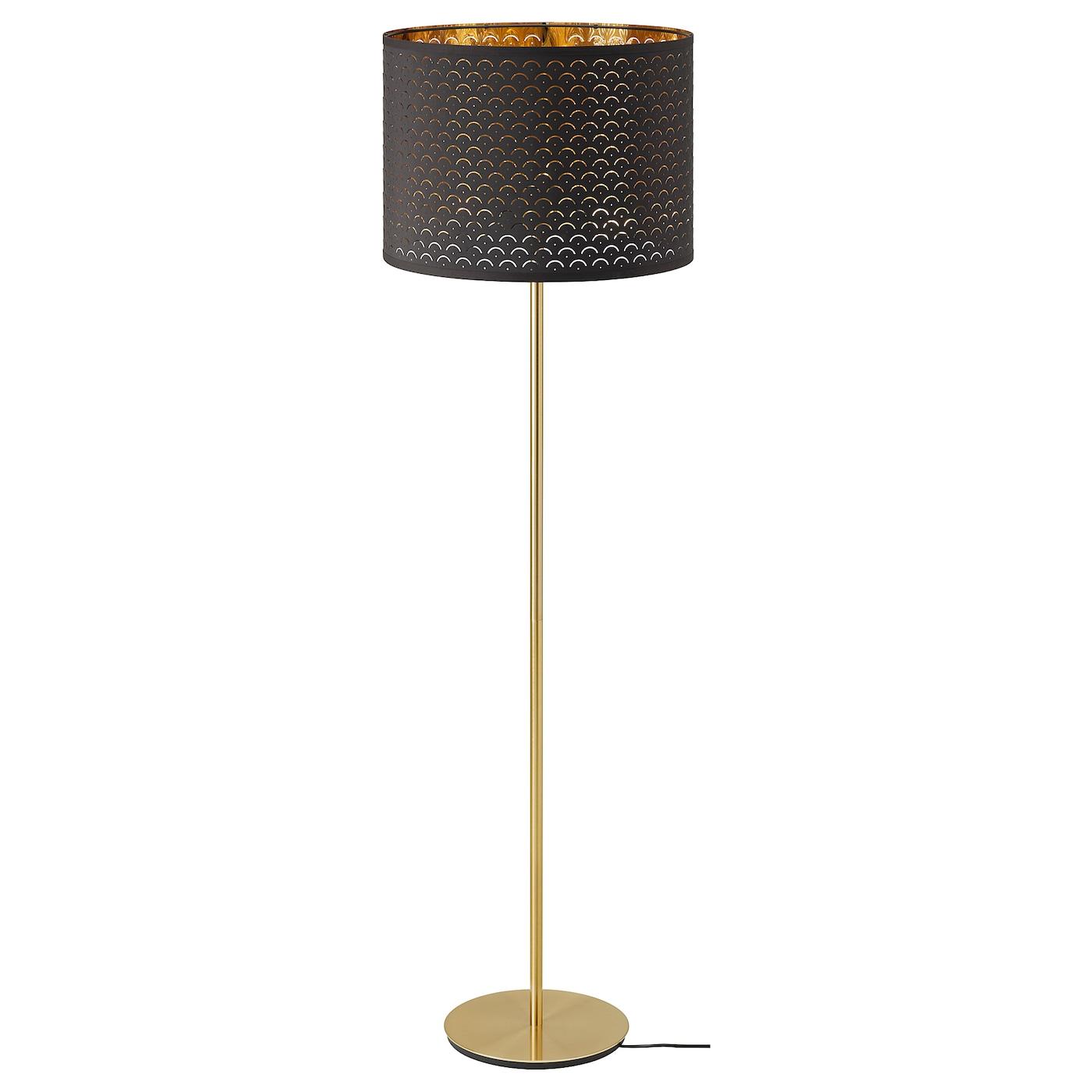 Nymo Skaftet Floor Lamp Black Brass Brass Ikea