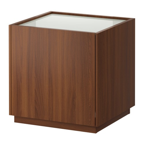 NYVOLL Bedside table - medium brown/white - IKEA