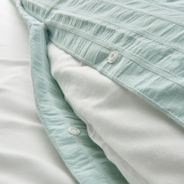 OFELIA Quilt cover and pillowcase, light turquoise, 150x200/50x80 cm