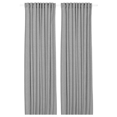 ORDENSFLY Curtains, 1 pair, white/dark grey, 145x250 cm