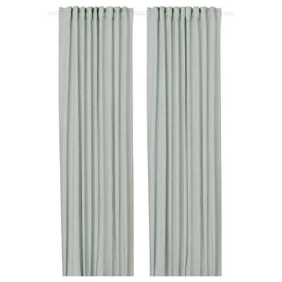 ORDENSFLY curtains, 1 pair white/green 250 cm 145 cm 1.60 kg 3.63 m² 2 pack