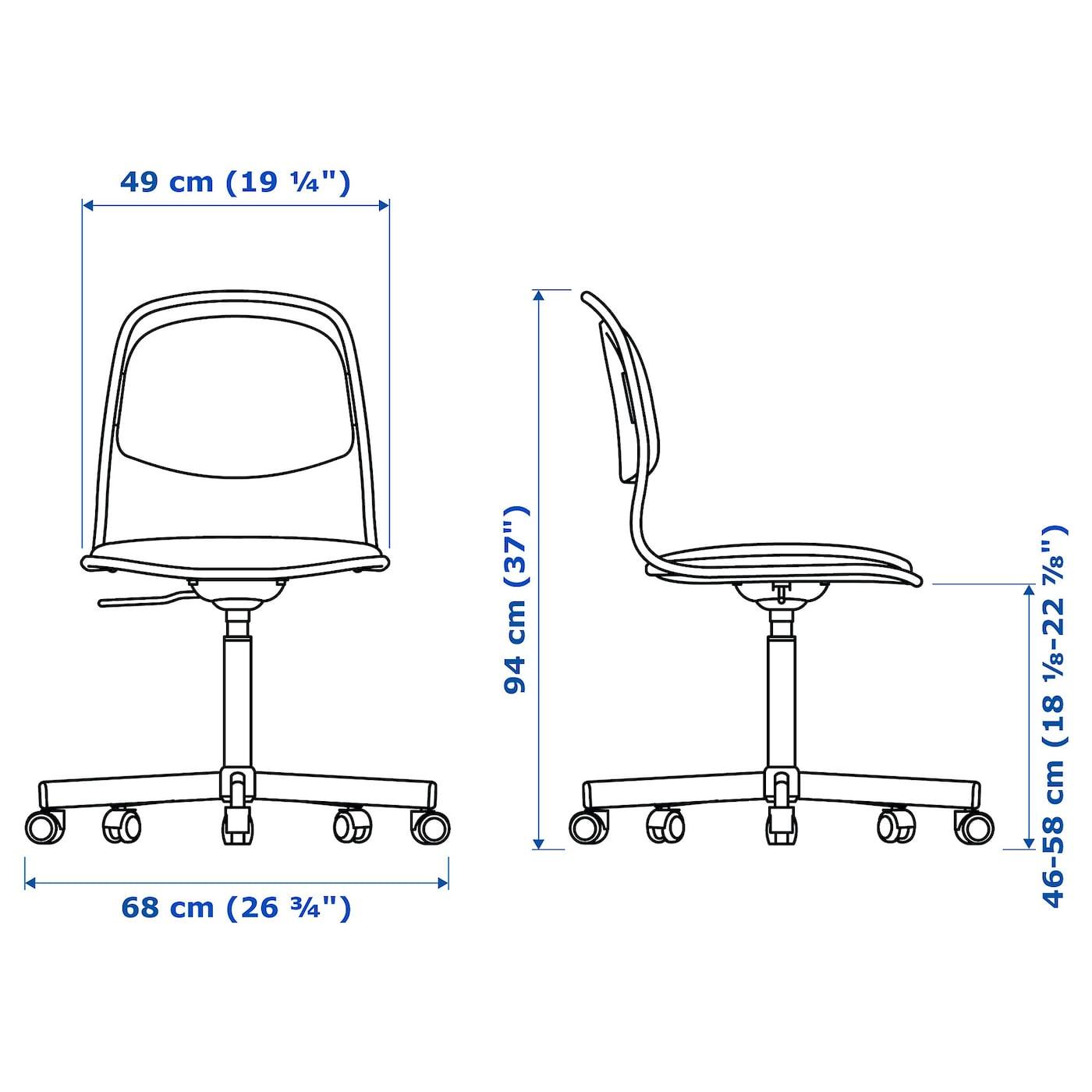 Orfjall Swivel Chair White Vissle Blue
