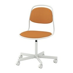 ÖRFJÄLL swivel chair, white, Vissle dark yellow