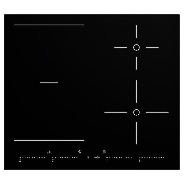 OTROLIG Induction hob with flexible zones, black, 58 cm