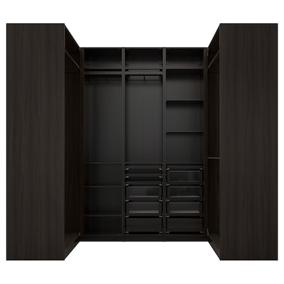 PAX Corner wardrobe, black-brown, 113/271/113x236 cm