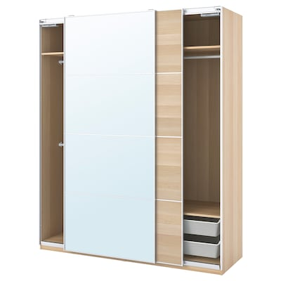 PAX / MEHAMN/AULI Wardrobe combination, white stained oak effect/mirror glass, 200x66x236 cm