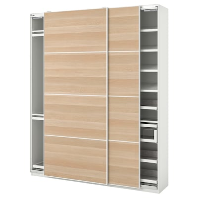 PAX / MEHAMN Wardrobe combination, white/white stained oak effect, 200x44x236 cm