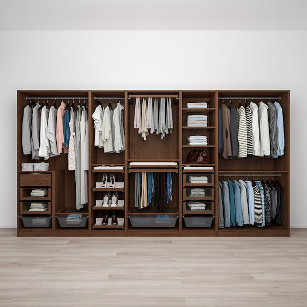 PAX Wardrobe combination, brown stained ash effect, 375x58x201 cm