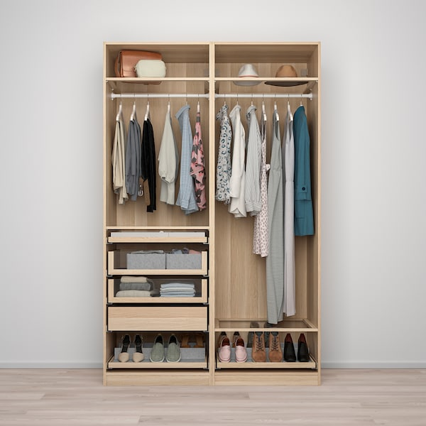 PAX Wardrobe combination, white stained oak effect, 150x58x236 cm