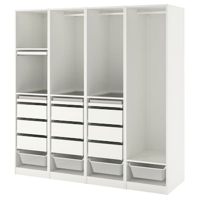 PAX Wardrobe combination, white, 200x58x201 cm