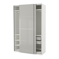 PAX wardrobe, white Hokksund, high-gloss light grey