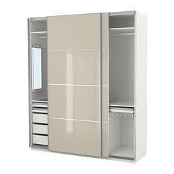 PAX wardrobe, white Hokksund, high-gloss light beige