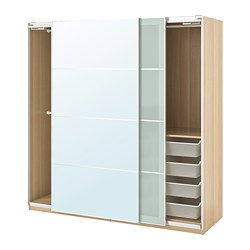 PAX wardrobe, white stained oak effect, Auli Sekken
