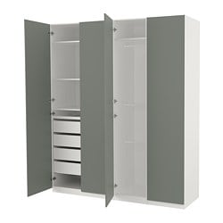PAX wardrobe, white, Reinsvoll grey-green