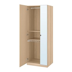 PAX wardrobe, white stained oak effect, Forsand Vikedal