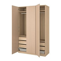 PAX wardrobe, white stained oak effect, Forsand white stained oak effect