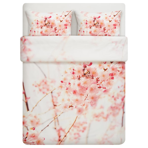PERUKBUSKE quilt cover and 2 pillowcases flower white/pink 207 /inch² 2 pack 200 cm 200 cm 50 cm 80 cm