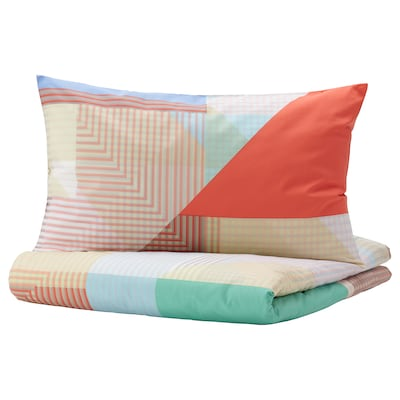 PIMPERNÖT Duvet cover and 2 pillowcases, multicolour, 240x220/50x80 cm
