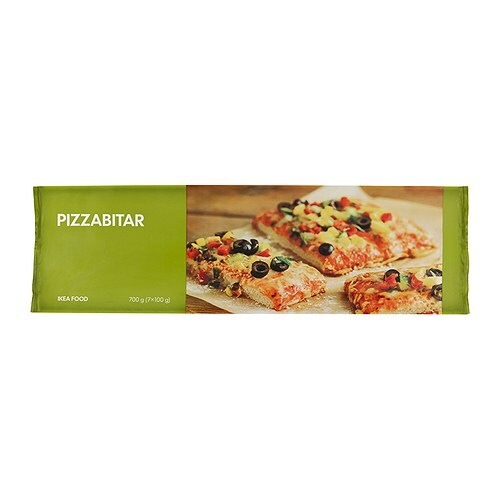 PIZZABITAR Pizza slice, vegetarian frozen IKEA A vegetarian pizza with tomato paste, olives, yellow and red carrots, capsicum and onion.